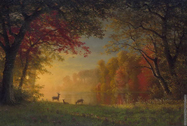 Indian Sunset - Deer by a Lake (Bierstadt)