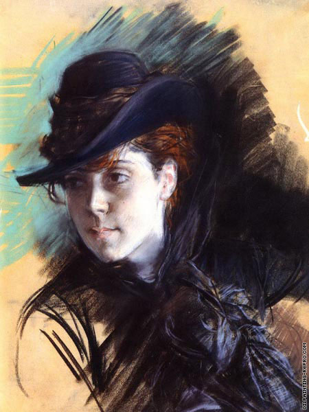 Girl in a black hat (Boldini)
