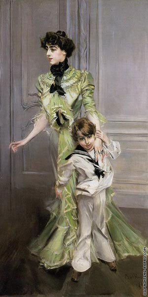 Portrait of Madame Georges Hugo and her son Jean (Boldini)