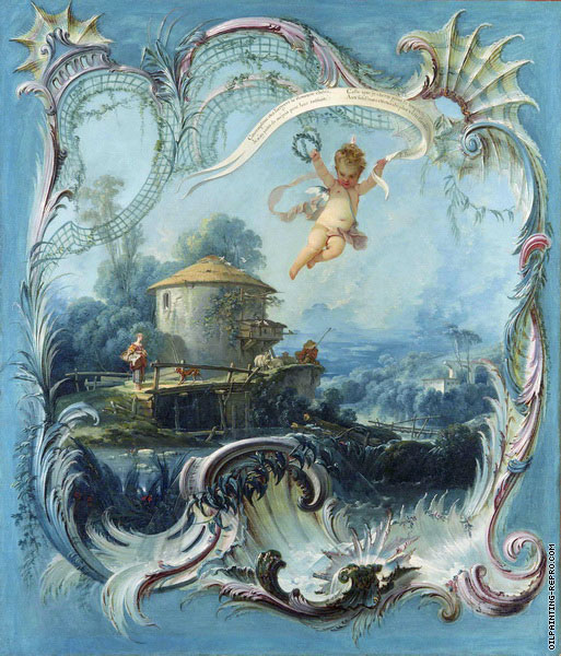The Enchanted Home - A Pastoral Landscape Surmounted by Cupid (Boucher)