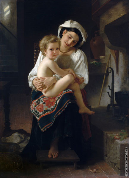Young Mother Gazing at her Child (Bouguereau)