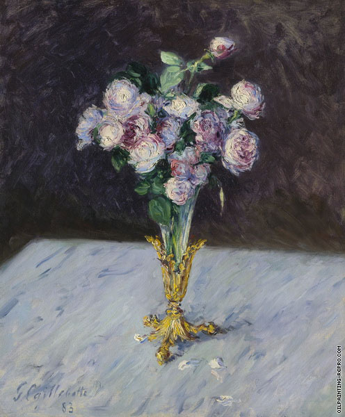 Bouquet of Roses in a Crystal Vase (Caillebotte)