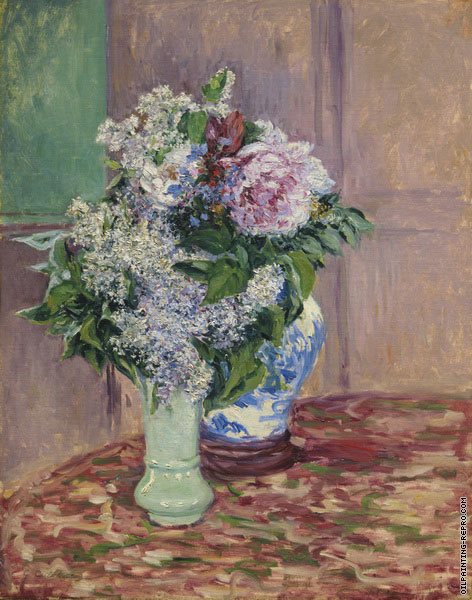 Lilac and Peonies in Two Vases (Caillebotte)