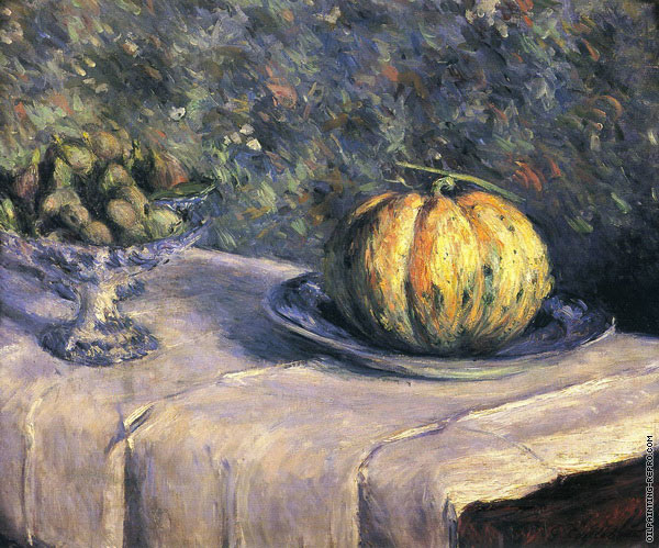 Melon and Fruit Bowl with Figs (Caillebotte)