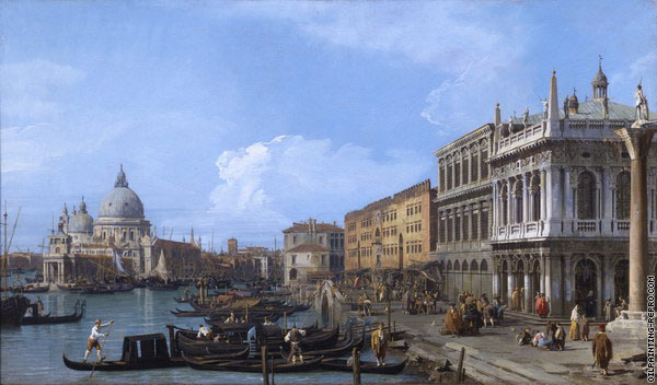 The Molo looking West with the Dogana & Santa Maria Della Salute (Canaletto)