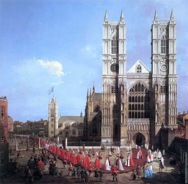 Westminster Abbey with a Procession of Knights of the Bath (Canaletto)
