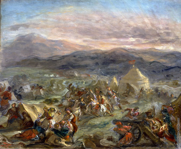 Botzaris Surprises the Turkish Camp and Falls Fatally Wounded (Delacroix)