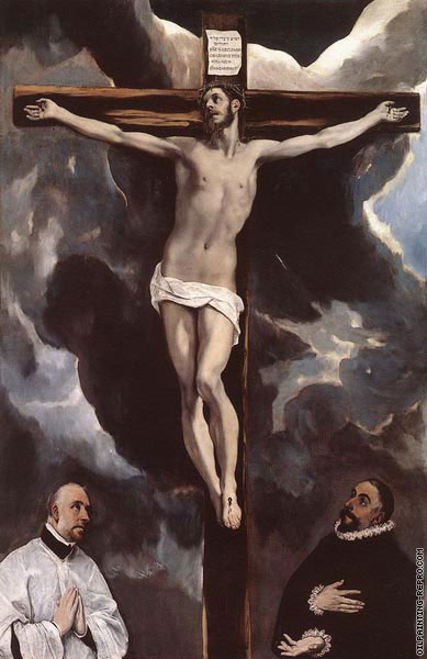 Christ on the  cross adored by donors (El Greco)