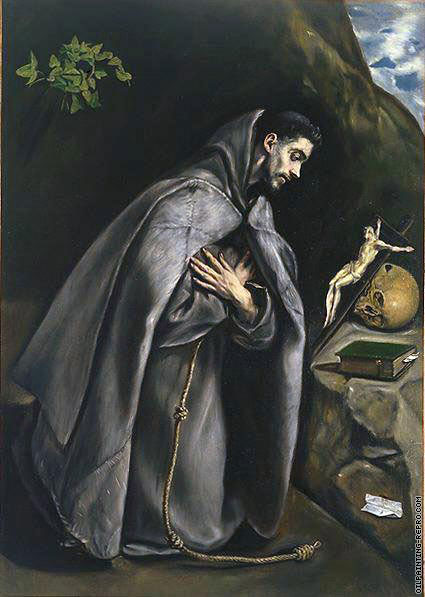 Saint Francis venerating the crucifix (El Greco)