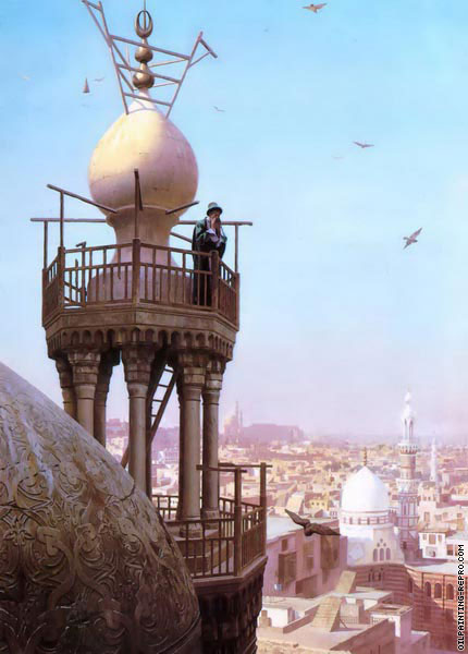 A Muezzin calling from the top of a Minaret (Gerome)