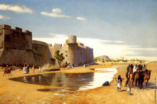 An arab caravan out side a Fortified Town of Egypt (Gerome)