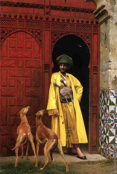 An arab and his dogs (Gerome)