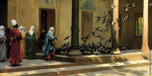 Harem Women Feeding Pigeons in a Courtyard* (Gerome)
