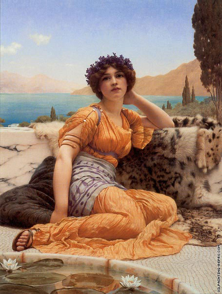With violets wreathed and robe of saffron hue (Godward)