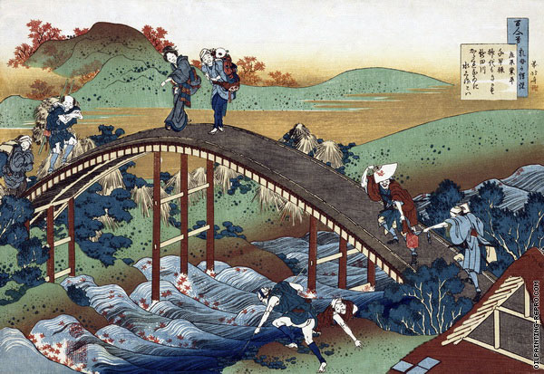 Autumn Maple Leaves on the Tsutaya River (Hokusai)