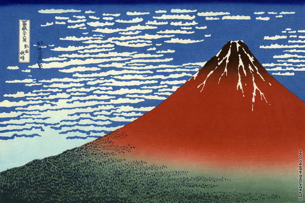 Red Fuji - 36 Views of Mount Fuji (Hokusai)