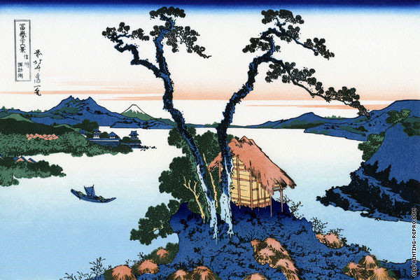 Lake Suwa in Shinano Province - 36 Views of Mount Fuji (Hokusai)