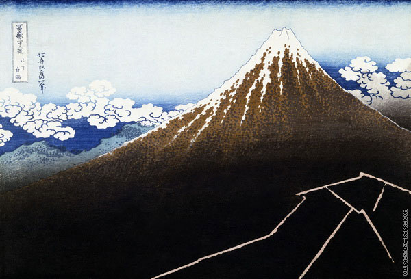 Mount Fuji above Lightning - from 36 Views of Mount Fuji (Hokusai)
