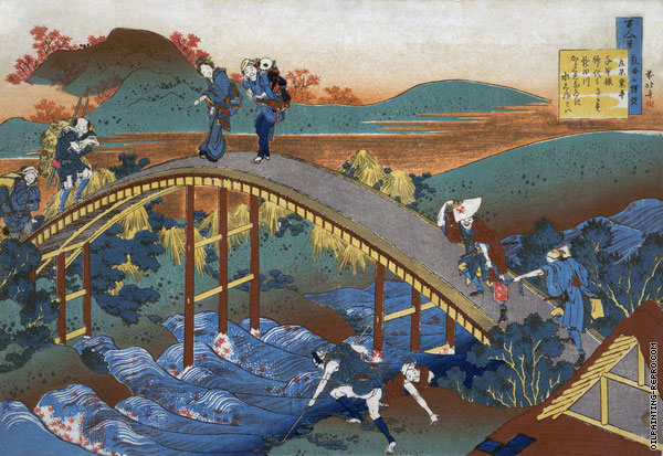 Poem by Ariwara no Narihira (Hokusai)