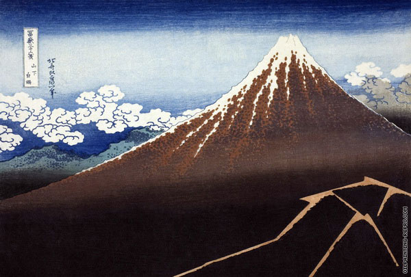 Shower below the Summit - 36 Views of Mount Fuji (Hokusai)