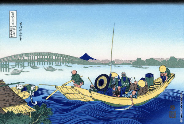 Ryogoku Bridge from the Bank of the Sumida River - 36 Views of Mount Fuji (Hokusai)