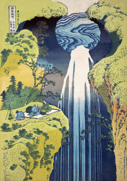 The Amida Falls in the Far Reaches of the Kisokaido Road (Hokusai)