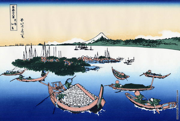 Tsukada Island in the Musashi Province - 36 Views of Mount Fuji (Hokusai)