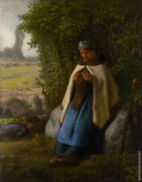 Shepherdess Seated on a Rock (Millet)