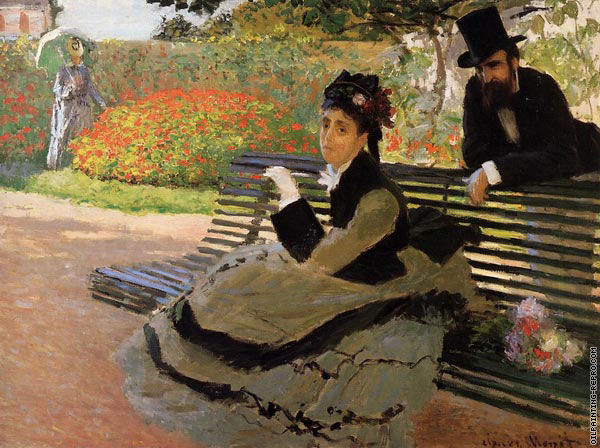 Camille Monet on a Garden Bench (Monet)