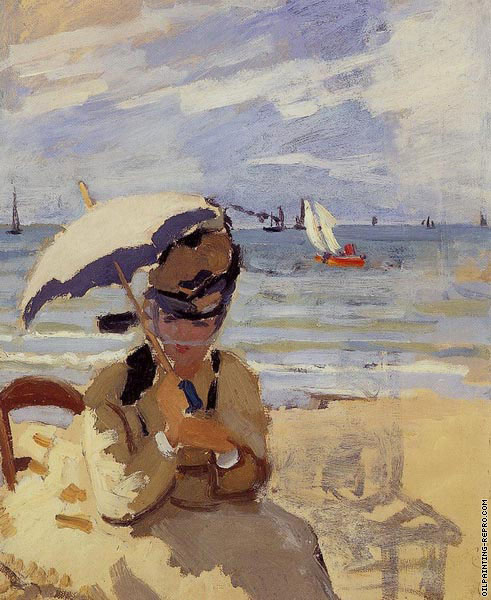 Camille sitting on the Beach at Trouville (Monet)