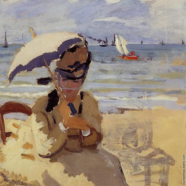 Camille sitting on the Beach at Trouville* (Monet)