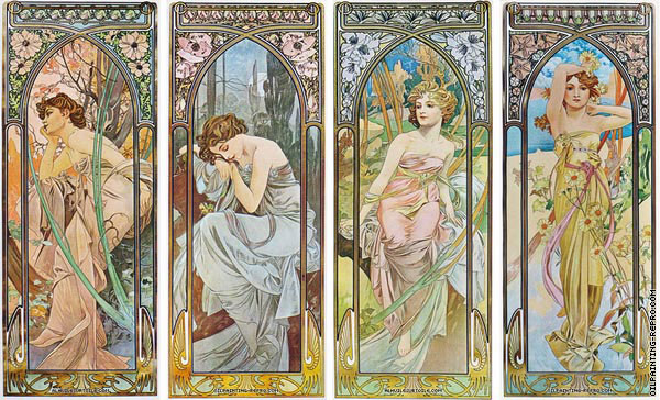 Quadriptych The Times of the Day (Mucha)