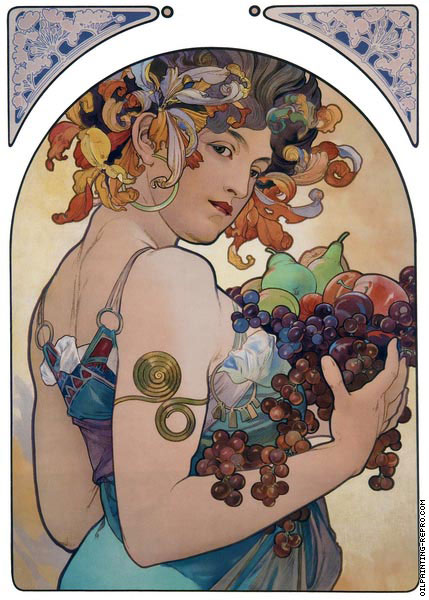 Decorative Panel - The Fruit (Mucha)
