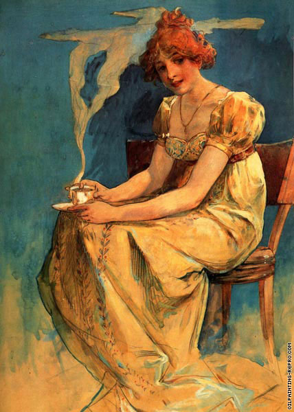 Seated Woman with Coffee Cup (Mucha)