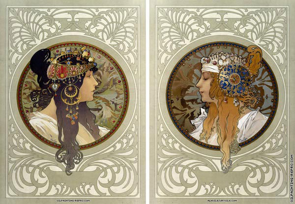 oil painting reproductions of diptych byzantine heads mucha