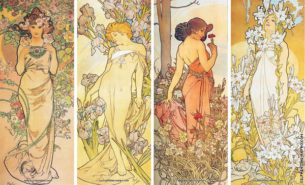 Quadriptych The Flowers (Mucha)