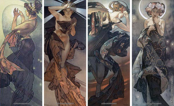 Quadriptych The Moon and The Stars (Mucha)