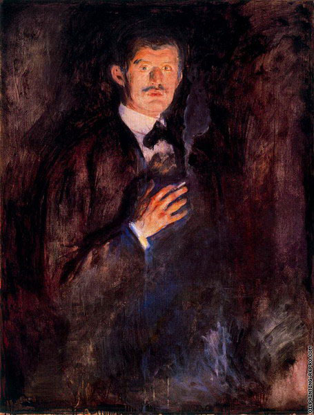 Self-Portrait with Burning Cigarette (Munch)