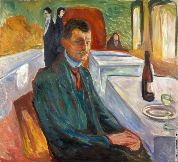 Self-Portrait with a Bottle of Wine (Munch)