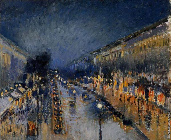 Boulevard of Montmartre with night effect (Pissarro)