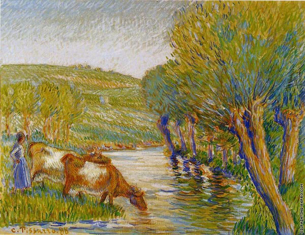 The river with the Eragny willows (Pissarro)