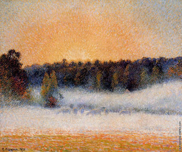 Setting Sun and Fog Eragny (Pissarro)