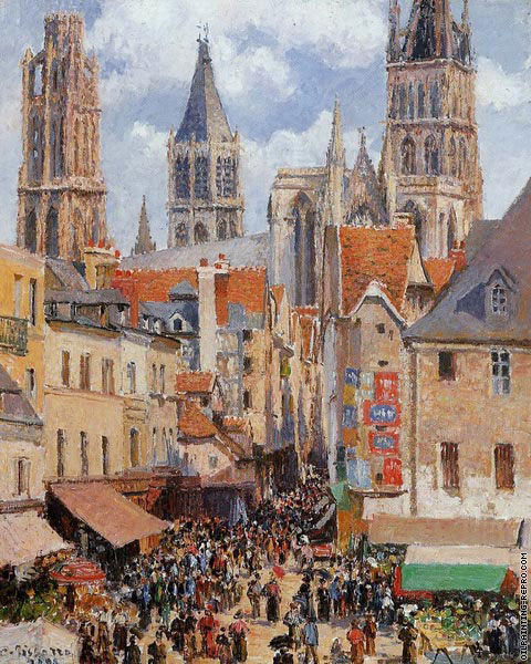The old market and the street of the Groceries in Rouen (Pissarro)