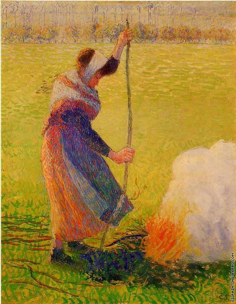 Woman burning wood (Pissarro)