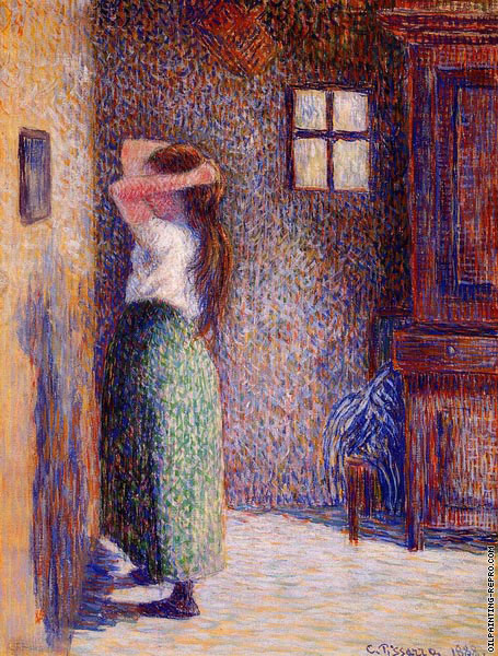 Young peasant at her toilette (Pissarro)