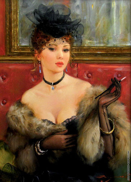 Young Woman with a Fur 1 (Razumov)