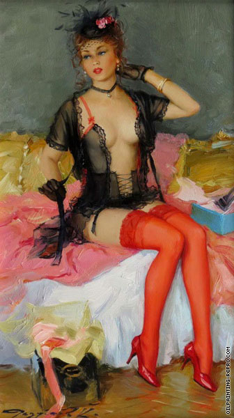 Young Woman with Red Stocking (Razumov)