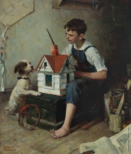 Painting the Little House (Rockwell)