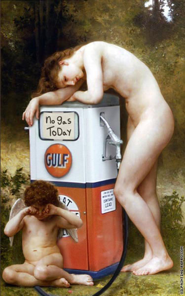 Pain of love without gas (After Bouguereau)
