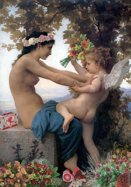 Young Valentine defending herself against Cupid (After Bouguereau)